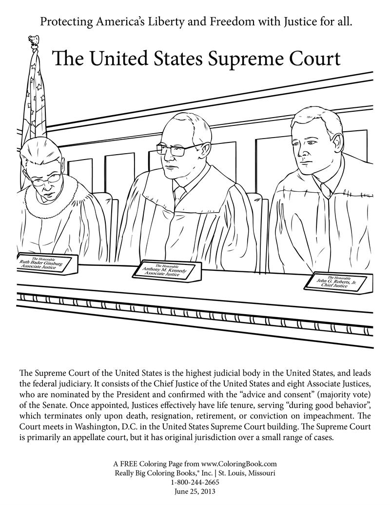Coloring book page of the united states - Supreme Court Free Coloring Page