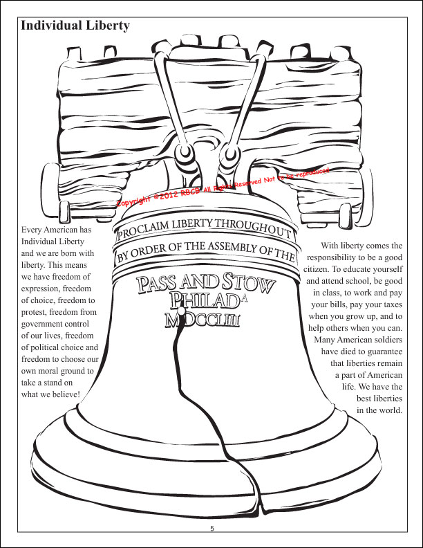 Tea Party Liberty Bell Coloring Page