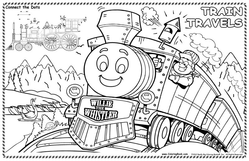 Coloring Books | Train Travels Colorable Placemat