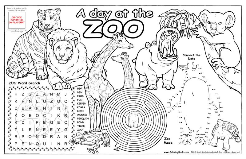 """Zoo Animals Colorable Placemat With """"At"""