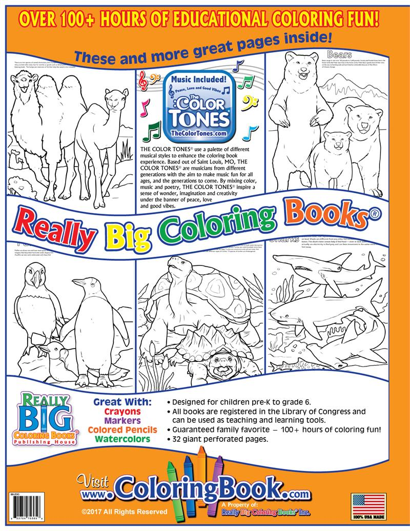 Zoo Animals Really Big Coloring Book With Song Back Cover