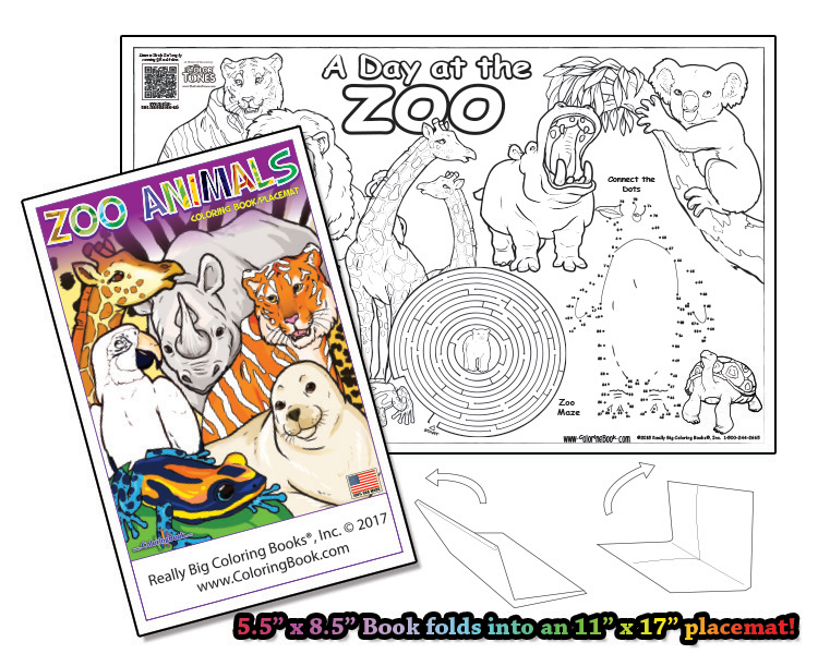 Zoo 4 Page Coloring Book W Song That Unfolds Into A Placemat