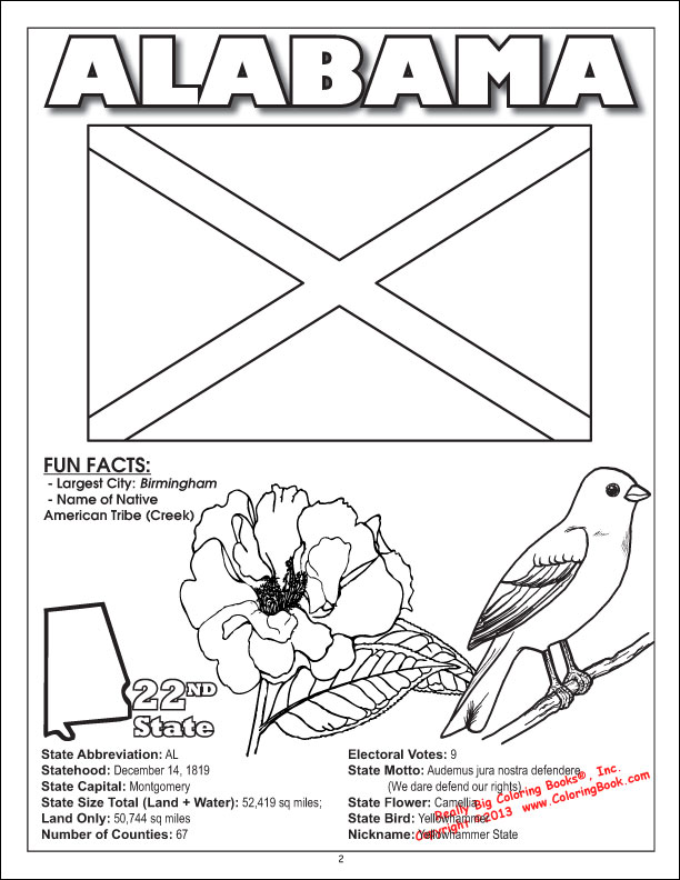 Charming States Coloring Book Alabama