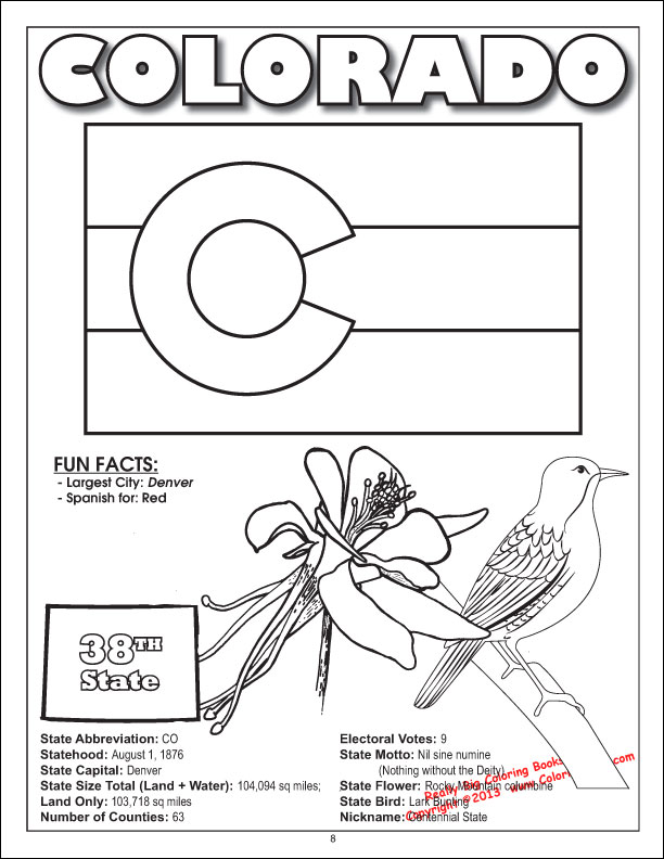 Coloring books united states coloring book all 50 states for Colorado state flag coloring page