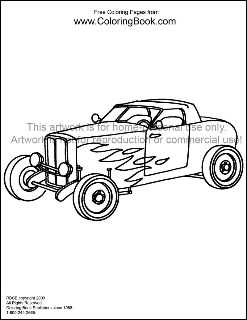 free online coloring pages hotrod - Hot Rod Coloring Pages