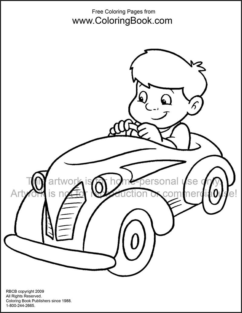 Coloring Pages | Free Online Coloring Pages-Kid in Car