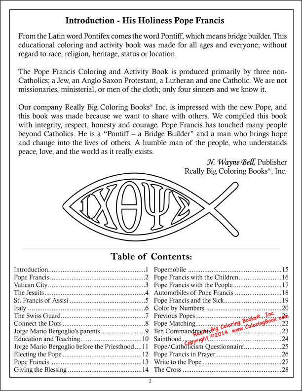 pope francis coloring activity book pope francis coloring activity book table of contents