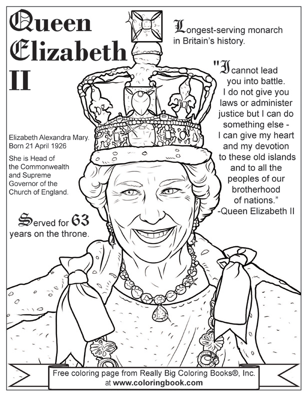 queen elizabeth ii free online coloring page - Childrens Colouring Pictures 2