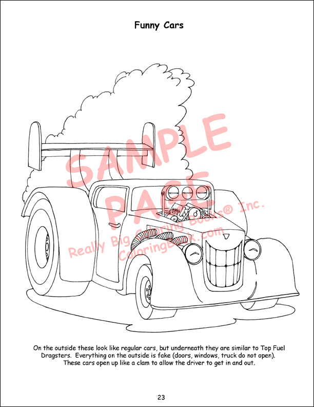 Funny Car Giant Coloring Book Pages