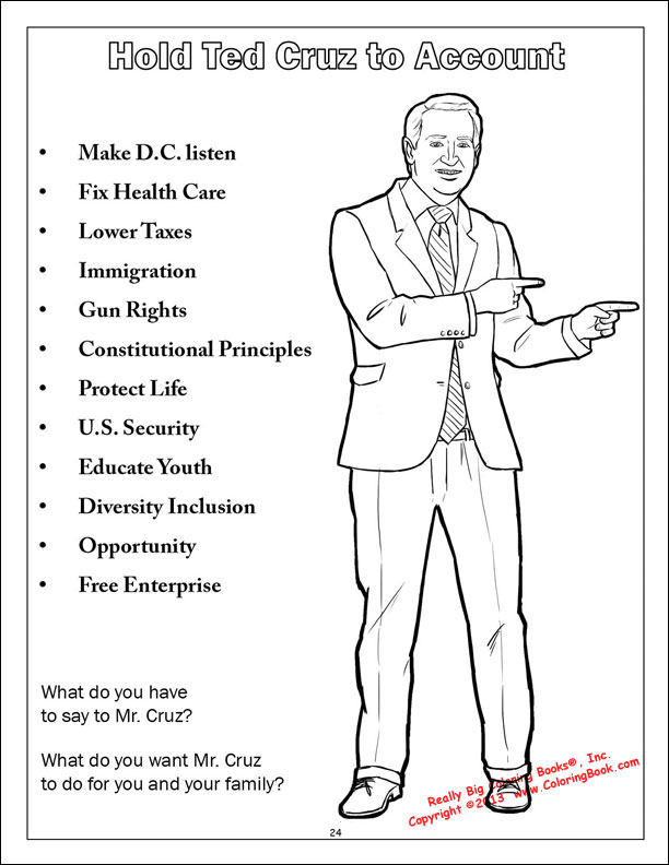 Coloring Books Ted Cruz To The Future Saves America