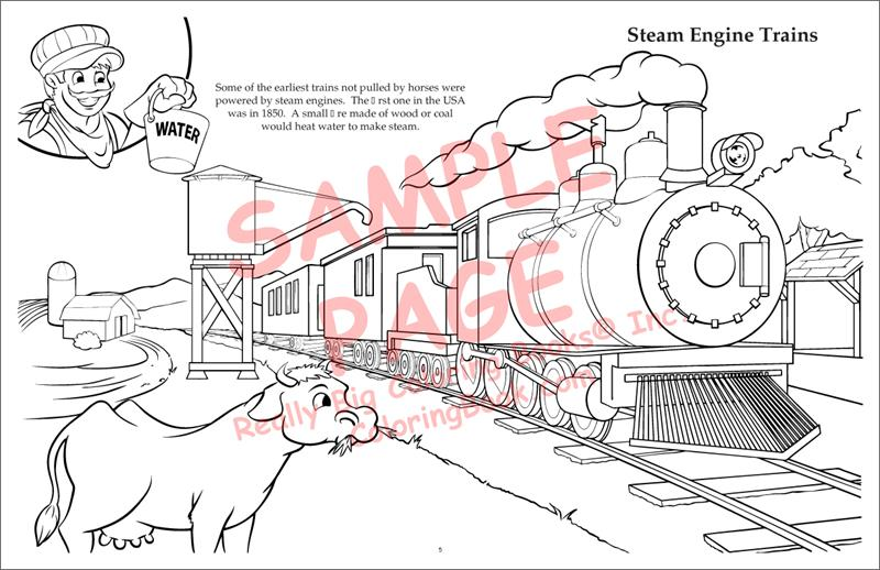 Trains LapTop Coloring BooksR 17 Wide X 11 Tall