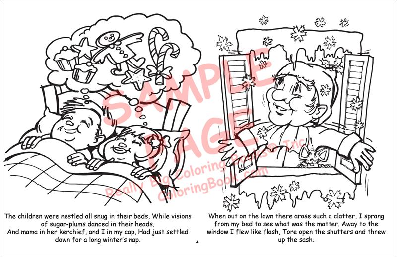 Twas The Night Before Christmas LapTop Coloring BooksR 17 Wide X 11 Tall