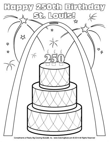 Free Online Coloring Pages - Happy 250th Birthday St. Louis