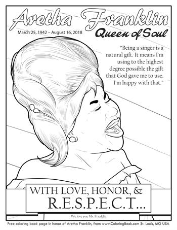 Aretha Franklin - Free Online Coloring Pages