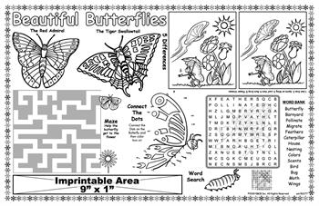 Beautiful Butterflies Imprintable Colorable Placemat