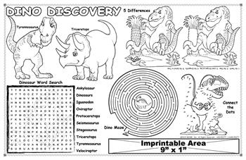 "Dino Discovery Imprintable Colorable Placemat with ""Dinosaurs"" Song"