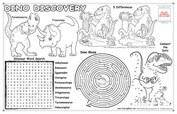 "Dino Discovery Colorable Placemat with ""Dinosaurs"" Song"