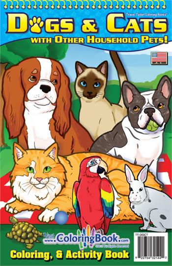 Dogs & Cats with Other Household Pets Travel Tablet Coloring Book