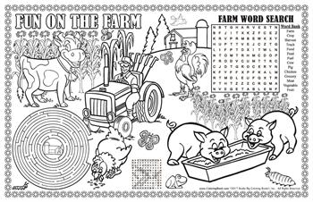 Fun on the Farm Colorable Placemat