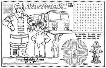 Fire Protection Imprintable Colorable Placemat