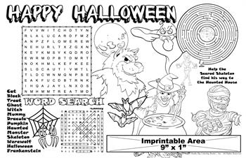 Happy Halloween Coloring Imprintable Colorable Placemat
