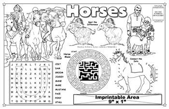 "Horses Imprintable Colorable Placemat with ""Horses Ride"" Song"