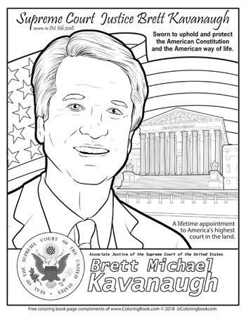 Supreme Court Justice Brett Kavanaugh - Free Online Coloring Page