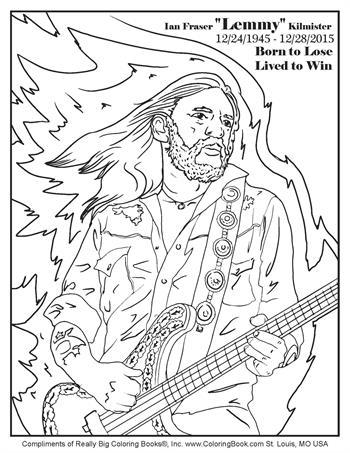 "Ian Fraser ""Lemmy"" Kilmister - Free Online Coloring Pages"
