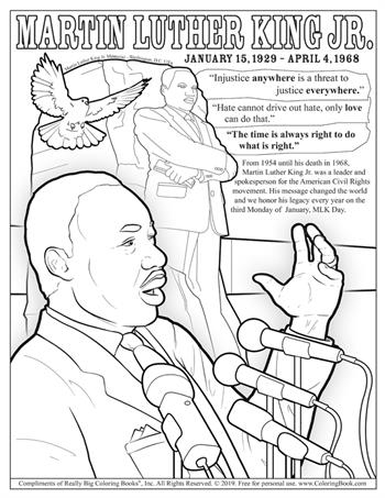 Free Online Coloring Pages - Martin Luther King Jr.
