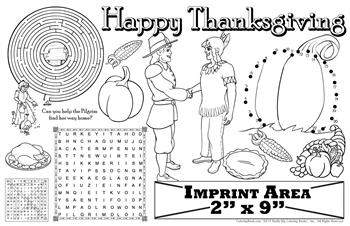 Thanksgiving Coloring Imprintable Colorable Placemat