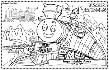 Train Travels Imprintable Colorable Placemat