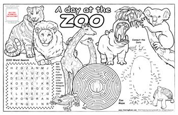 "Zoo Animals Colorable Placemat with ""At the Zoo"" Song"
