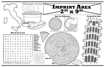 Italian Restaurant Imprintable Colorable Placemat