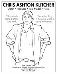 Ashton Kutcher Coloring Page