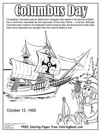 Free Online Coloring Pages - Columbus Day