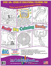 Dinosaurs Really Big Coloring Book with Dinosaurs Song back cover