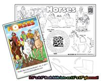 Horses - 8 page Coloring Book w/ Song that unfolds into a Placemat©