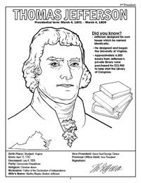 President Thomas Jefferson Coloring Page