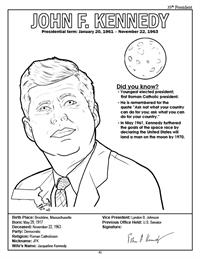 President John F. Kennedy Coloring Page