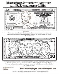 Honoring American women on U.S. currency bills - Free Coloring Page
