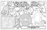 Zoo Animals Imprintable Colorable Placemat with