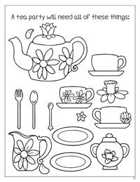 Enchanted TeaParty Coloring Book - Tea Set