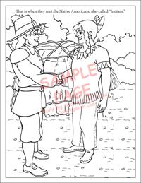 Pilgrim and Indian coloring page