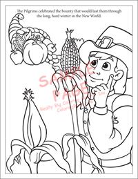 Pilgrim and harvest coloring page